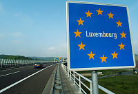 0171828 © Granger - Historical Picture ArchiveGERMANY-LUXENBOURG BORDER.   A sign marking the border between Germany and Luxembourg, in the Schengen area of Europe in which border control was eliminated. Photograph, 15 May 2004. Full credit: Becker & Bredel - ullstein bild / Granger, NYC -- All Rights Reserved.