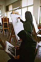0174835 © Granger - Historical Picture ArchiveUNIVERSITY OF TEHRAN, 2005.   Students in an art class at the University of Tehran in Iran. Photograph, 2005. Full credit: JOKER/Eglau - ullstein bild / Granger, NYC -- All rights