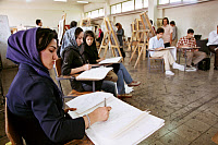 0174836 © Granger - Historical Picture ArchiveUNIVERSITY OF TEHRAN, 2005.   Students in an art class at the University of Tehran in Iran. Photograph, 2005. Full credit: JOKER/Eglau - ullstein bild / Granger, NYC -- All rights