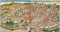 0175295 © Granger - Historical Picture ArchiveITALY: FLORENCE, 1493.   Cityscape of Florence. Woodcut by Michael Wolgemut, from the 'Nuremberg Chronicle,' 1493.