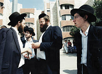 0175520 © Granger - Historical Picture ArchiveISRAEL: ORTHODOX JEWS.   A group of Orthodox Jewish men on the street in Jerusalem, Israel. Photograph, 1995. Full credit: Fotoagentur imo - ullstein bild / Granger, NYC -- All rig