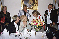 0177395 © Granger - Historical Picture ArchiveLENI RIEFENSTAHL.   Leni Riefenstahl - Producer, photographer, Germany - With the magicans Siegfried and Roy (right handed), Uschi Glas (left handed) presents a bouquet of roses to Leni Riefenstahl on the occasion of her's 100th birthday - 22.08.2002 00972586. Full credit: ullstein bild / Granger, NYC -- All Rights Reserved.