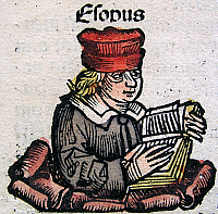 0180968 © Granger - Historical Picture ArchiveAESOP.   AESOP, *c600+ BC, Greek poet of fables - colored woodcut by Michael Wolgemut from the Nuremberg Chronicle (Schedel's World History), 1493