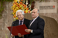0183201 © Granger - Historical Picture ArchiveSAUL FRIEDLAENDER.   Saul Friedlaender - Historian, Author, Israel - receiving the Friedenspreis des Deutschen Buchhandels from Gottfried Honnefelder (r), president of the German Book Prize Academy at the Frankfurt Paulskirche - 14.10.2007 For-commercial-use-please-contact-ullstein-bild!