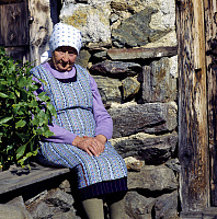 0185558 © Granger - Historical Picture ArchiveITALY: OLD WOMAN, 2006.   An old peasant woman on her farm in Ultental, South Tyrol, Italy. Photograph, 2006. Full credit: Innerhofer - ullstein bild / Granger, NYC -- All rights r