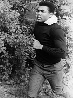 0186150 © Granger - Historical Picture ArchiveMUHAMMAD ALI (1942-2016).   Né Cassius Clay. American heavyweight boxer. Photographed jogging in the Frankfurt City Forest, 1966. Full credit: Sven Simon - ullstein bild / Granger, NYC -- All Rights Reserved.