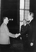 0187539 © Granger - Historical Picture ArchiveADOLF HITLER AND KARL SELTER.   Adolf Hitler meeting the Estonian Minister for Foreign Affairs Karl Selter (left) in the Reichskanzlei in Berlin; in the center: Staatsminister Otto Meissner - 07.06.1939 - Photographer: Presse-Illustrationen Heinrich Hoffmann - Published in: 'D.A.Z.' 08.06.1939 Vintage property of ullstein bild.