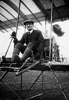 0188272 © Granger - Historical Picture ArchiveALFRED FREY.   Frey, Alfred aviator, Germany in his Farman biplane , Berlin-Johannisthal, 27.05.1910 01048652.