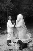 0189143 © Granger - Historical Picture ArchiveGERHARD MARCKS (1889-1981).   German artist. Working on a sculpture at the School of Applied Arts in Burg Giebichensten, near Halle, Germany. Photographed by A. & E. Frankl, 1930.