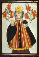 0191345 © Granger - Historical Picture ArchiveCHRISTIAN ART.   Christian art Jesus Christ as King - Austrian folk painting (reverse glass painting) - late 18th century, ullstein bild ID 00689611.