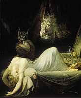0191704 © Granger - Historical Picture ArchiveCOL HENRY FUSELI.   COL Henry Fuseli, *07.02.1741-16. 04.1825+, painter, draughtsman, writer on art, Swiss/GB| oil painting The Nightmare - 1781, ullstein bild ID 00689705.