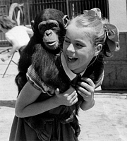 0191794 © Granger - Historical Picture ArchiveCONNY FROBOESS.   Conny Froboess, Actress, Singer, Germany *28.10.1943- having a chimpanzee on her back - June 1955, ullstein bild ID 00978757.