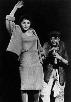 0191875 © Granger - Historical Picture ArchiveCORNELIA FROBOESS.   Froboess, Cornelia - Singer, Actress, Germany *28.10.1943-?+ as Shen Te and actor Guenther Jerschke as Wang in 'The Good Person of Szechwan' by Bertolt Brecht , directed by: Hellmuth Matiasek, Junges Theater Hamburg - Photographer: Rosemarie Clausen - Published by: 'Berliner Morgenpost' 30.06.1970 Vintage property of ullstein bild, ulls