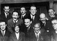 0192065 © Granger - Historical Picture ArchiveDADA GROUP IN PARIS.   Meeting of the Dada group in Paris: Louis Aragon, Theodore Fraenkel, Paul Eluard, Clement Pansaers, Paul Dermee, Philippe Soupault, George Ribemont Dessaignes, Tristan Tzara, Celine Arnauld, Francis Picabia, Andre Breton. Photograph, 1921.