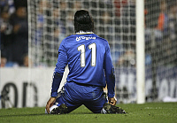 0192430 © Granger - Historical Picture ArchiveDIDIER DROGBA.   Drogba, Didier - Football, Striker, Chelsea FC, Ivory Coast - kneeling on the pitch - 25.02.2009 .