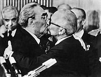 0193790 © Granger - Historical Picture ArchiveHONECKER & BREZHNEV, 1979.   A 'heartfelt encounter' between East German Head of State Erich Honecker (right) and Soviet leader Leonid Brezhnev (left) on the 30th anniversary of the German Democratic Republic. Photographed by Regis Bossu, 7 October 1979.