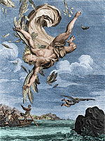 0194605 © Granger - Historical Picture ArchiveFALL OF ICARUS.   Fall of Icarus - illustration, France 1731 (colored), ullstein bild ID 00657402.
