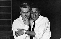 0194671 © Granger - Historical Picture ArchiveFEDERICO FELLINI.   Fellini, Federico *20.01.1920-31.10.1993+ - director, filmmaker, Italy - with actor Marcello Mastroianni (left-handed) - no date (1960ies) - For-editorial-use-only! 01101927.