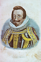 0194794 © Granger - Historical Picture ArchiveFERDINAND II.   Ferdinand II. Lithographs / engravings Ferdinand II. 09.07.1578 - 15.02.1637 German Emperor 1619 - 1637 - colored engraving - 17th century, ullstein bild ID 00676457.