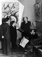 0195139 © Granger - Historical Picture ArchiveFILIPPO TOMMASO MARINETTI.   Marinetti, Filippo Tommaso - Writer, Italy *22.12.1876-02.12.1944+ Founder of the literary futurism series: Roman heads editorial team meeting of the magazine 'Futurismo', f.r.t.l. Mino Somenzi, Marinetti, Prampolini and Bruno G. Sanzin (with the back) - Photographer: Felix H. Man - Koester - 1931 Vintage property of ullstein bi