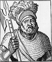 0196762 © Granger - Historical Picture ArchiveGEORG VON FRUNDSBERG.   Georg von Frundsberg Woodcuts Georg von Frundsberg 1473 - 1528 Leader of the German Landsknechte (foot soldiers) portrait - woodcut - 16th century, ullstein bild ID 00760395.
