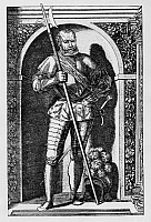 0196763 © Granger - Historical Picture ArchiveGEORG VON FRUNDSBERG.   Georg von Frundsberg Copper engravings Georg von Frundsberg 1473 - 1528 Leader of the German Landsknechte (foot soldiers) portrait - copper engraving (16th/17th c) - undated, ullstein bild ID 00760394.