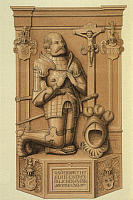 0197420 © Granger - Historical Picture ArchiveKNIGHT WITH THE IRON FIST.   Germany Knights Goetz von Berlichingen *around 1480-23.07.1562+ German knight ('Knight with the iron fist') tombstone in the minster of Schoental an der Jagst - drawing - 16th century æ, ullstein bild ID 00680615.