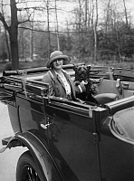 0204753 © Granger - Historical Picture ArchiveLILLY FLOHR.   Flohr, Lilly - Actress, Singer, Germany - sitting with her dog in a autocar - Photographer: Zander & Labisch - Published by: 'Die Dame' 17/1924 Vintage property of ullstein bild 01032622.