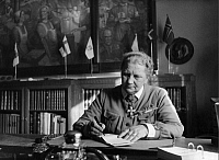 0205390 © Granger - Historical Picture ArchiveLUUKKONEN FANNY.   Luukkonen Fanny - President of the Women Organization 'Lotta Svaerd', Finland - sitting on her desk, wearing decorations - Photographer: Athur Grimm - Published by: 'Signal' 12/1942 Vintage property of ullstein bild 01013377.