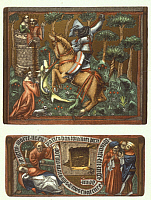 0207174 © Granger - Historical Picture ArchiveMIDDLE AGES.   Middle Ages Saint George *around 275-303+ St. George fighting with the dragon - depiction on a leather jewelry box - 14th century, ullstein bild ID 00690207.