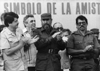 0212970 © Granger - Historical Picture ArchiveFIDEL CASTRO (1926-2016).   Cuban revolutionary leader. Attending the opening of a sugar plant in Tipitapa, Nicaragua, with Sergio Ramirez, Egon Krenz, and Daniel Ortega. Photograph, 1985. Full credit: ADN-Bildarchiv - ullstein bild / Granger, NYC.