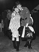 0213617 © Granger - Historical Picture ArchiveTHOMAS FRITSCH.   Fritsch, Thomas *16.01.1954- actor, Germany - with Helga Hudus wearing the uniform of the German Federal Armed Forces - 10.12.1966 01050857.