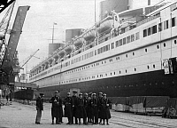 0217090 © Granger - Historical Picture ArchiveLABOR.   France, SS Normandie, French ocean liner, the crew was fired because of striking, policemen guarding the ship, date unknown, probably 1938, photo by Wide World.