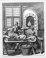 0217284 © Granger - Historical Picture ArchiveLABOR.   Jewish daily life Historic depictions Jewish bakery where matzo (flatbread made of white plain flour and water) is baked - 17th century.
