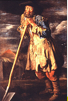 0217307 © Granger - Historical Picture ArchiveLABOR.   Painting by Italian painter Giacomo Ceruti showing an old man in ragged clothes with a spade - 18th Century.
