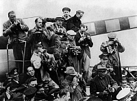 0217314 © Granger - Historical Picture ArchiveLABOR.   German Empire - Berlin: Photographers during receiving of Focke-Wulf FW 200 'Condor' at airpot Berlin Tempelhof - undated Vintage property of ullstein bild.