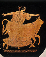0217625 © Granger - Historical Picture ArchiveCULTURE.   Ancient Greece The abduction of Europa by Zeus (Jupiter) in the form of a bull Vase painting - High Classical Period - around 490 B.C. -.