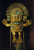 0217706 © Granger - Historical Picture ArchiveCULTURE.   Peru Lambayeque culture Tomb find from the valley of Lambayeque on Peru's northern coast; golden-turquoise image of the god 'Naymlap' - Lima, Museo del Oro - around 1150 '.
