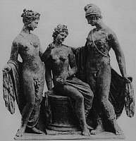0217729 © Granger - Historical Picture ArchiveCULTURE.   Ancient Greece Sculptures / ceramic figurines of Aphrodite, Helena and Paris (from left) found in Tanagra, c. 300 B.C - -.
