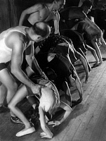 0217789 © Granger - Historical Picture ArchiveCULTURE.   France - Ile de France - Paris Form for artists School for acrobatics. Trainer helping their female scholars during stretching exercises. - Photographer: B. M. Bernand - Published by: 'Koralle' 10/1938 Vintage property of ullstein bild.