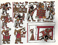 0217810 © Granger - Historical Picture ArchiveCULTURE.   Mexico Pre-colonial period Codex Zouche-Nuttall, a pre-colonial illustrated manuscript presumably from the area of the Mixtec (State of Oaxaca). - London, British Museum (after the facsimile Peabody Mus., Harvard Univ., 1902) - around 1050.