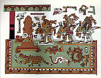 0217954 © Granger - Historical Picture ArchiveCULTURE.   Mexico Pre-colonial period Codex Zouche-Nuttall, a pre-colonial illustrated manuscript presumably from the area of the Mixtec (State of Oaxaca). - London, British Museum (after the facsimile Peabody Mus., Harvard Univ., 1902) - around 1050.