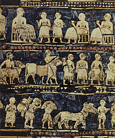 0217975 © Granger - Historical Picture ArchiveCULTURE.   Mesopotamia Depiction of a drinking scene (top) and the delivery of tributes - detail from the Standard of Ur - 2600 - 2400 B.C.