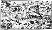 0218175 © Granger - Historical Picture ArchiveCULTURE.   Mining Engravings Dowsers hoping to find mineral resources with dowsing rods - contemporary engraving - 17th century.