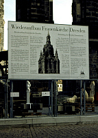 0218219 © Granger - Historical Picture ArchiveCULTURE.   Germany Saxony Dresden - Information board about the reconstruction of the Frauenkirche, destroyed in World War II. (the ruin in the background). - 24.04.1994.