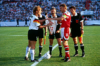 0218857 © Granger - Historical Picture ArchiveSOCCER.   UEFA European Football Championship 1988, final_tournament in Sweden, final in Gothenburg, Denmark vs. Germany 2:0, the team captains and referees before the match, Andreas Brehme (GER, l.) and Lars Olsen (DEN, r.), referee Bruno Galler (SUI) backdrop, June 26, 1992.