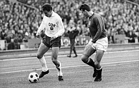 0218861 © Granger - Historical Picture ArchiveSOCCER.   UEFA European Football Championship 1968, Preliminary round, Group 5, match in Leipzig: German Democratic Republic (GDR, East Germany) vs. Hungary 1:0 - duel between Henning Frenzel (GDR, left) and Miklos Pancsics (HUN), October 29, 1967.