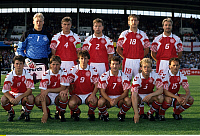 0218884 © Granger - Historical Picture ArchiveSOCCER.   UEFA European Football Championship 1992, final_tournament in Sweden, group 1 in Malmoe, Denmark vs. England 0:0, team shot Denmark: back f.l.t.r. Peter Schmeichel, Lars Olsen, John Sivebaek, Kim Vilfort, Kim Christofte front f.l.t.r.: Brian Laudrup, Kent Nielsen, Flemming Povlsen, John Faxe Jensen, Henrik Andersen, Bent Christensen, June 11, 19