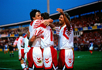 0219094 © Granger - Historical Picture ArchiveSOCCER.   UEFA European Football Championship 1988, final_tournament in Sweden, group 1 in Malmoe, France vs. Denmark 1:2, scene of the match, Daniosh goal cheer after 1:0 f.l.t.r. Flemming Povlsen, scorer Henrik Larsen, Kim Christofte, June 17, 1992.