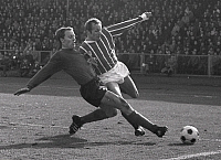0219207 © Granger - Historical Picture ArchiveSOCCER.   Football Germany, 1. Bundesliga, season 1967-1968, 29th day of play: 1. FC Nuremburg vs. 1.FC Cologne 2:1, duel between Karl-Heinz FERSCHL (l, Nuremberg) and Heinz HORNIG (r., 1. FC Cologne), April 6, 1968.